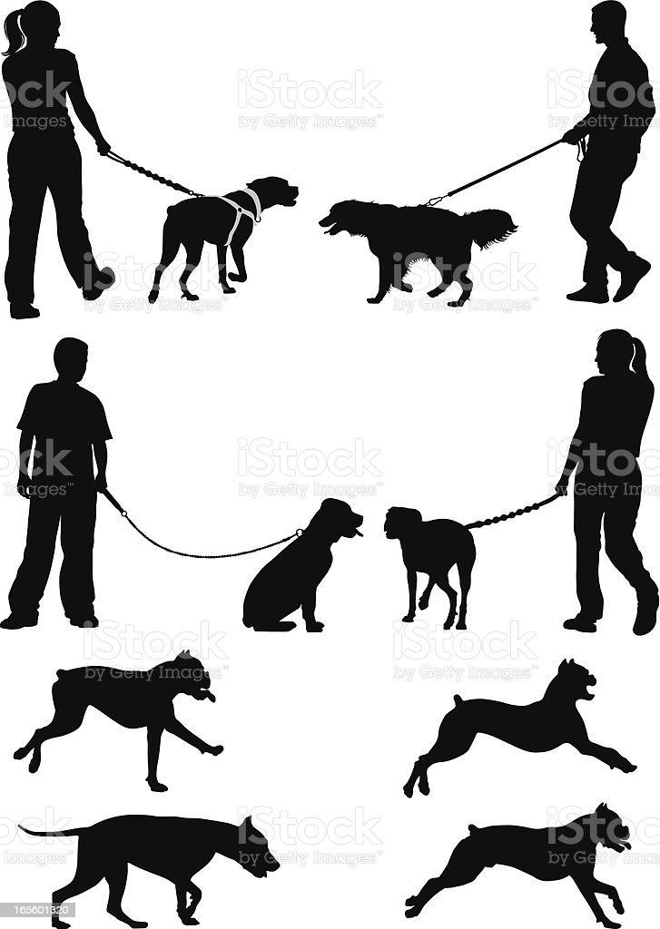 Black sketches of people walking dogs vector art illustration