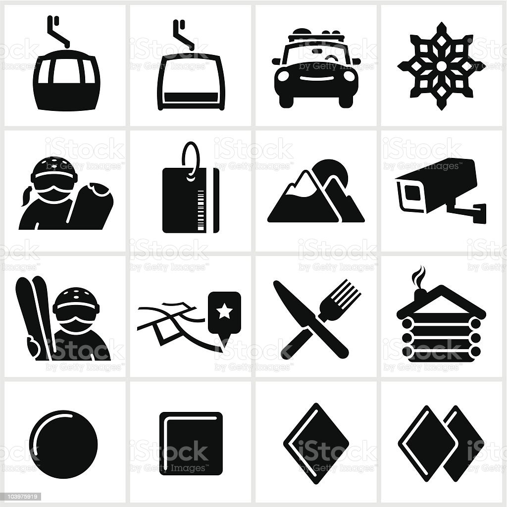 Black Ski And Snowboard Icons royalty-free stock vector art