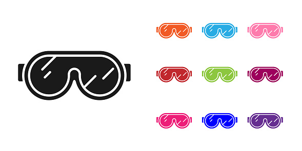 Black Ski goggles icon isolated on white background. Extreme sport. Sport equipment. Set icons colorful. Vector Illustration
