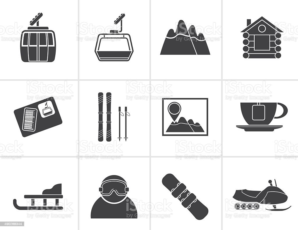 Black Ski Track and sport icons vector art illustration