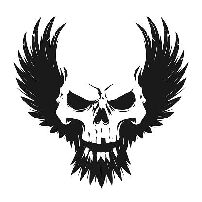Black skull illustration with wings