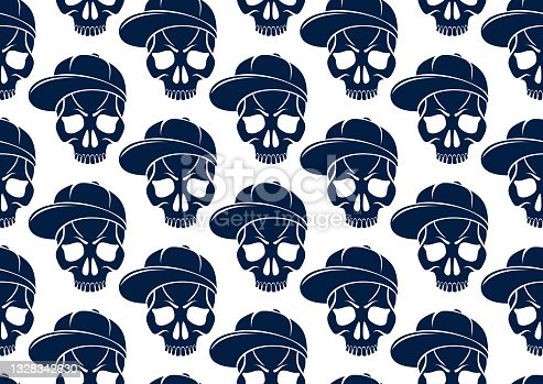 istock Black skulls seamless vector background, endless pattern with horror death sculls, stylish wallpaper of hard rock culture music fashion theme, gothic image. 1328342630