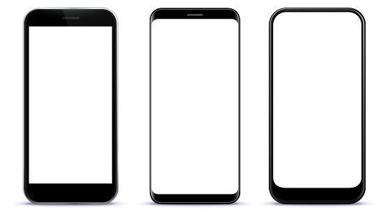 Black Smart Phones Vector Illustration