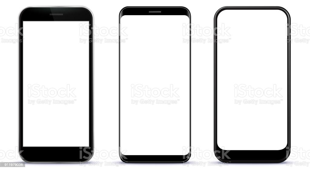 Black Smart Phones Vector Illustration vector art illustration
