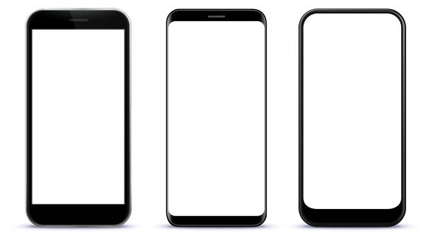 black smart phones vector illustration - smartphone stock illustrations