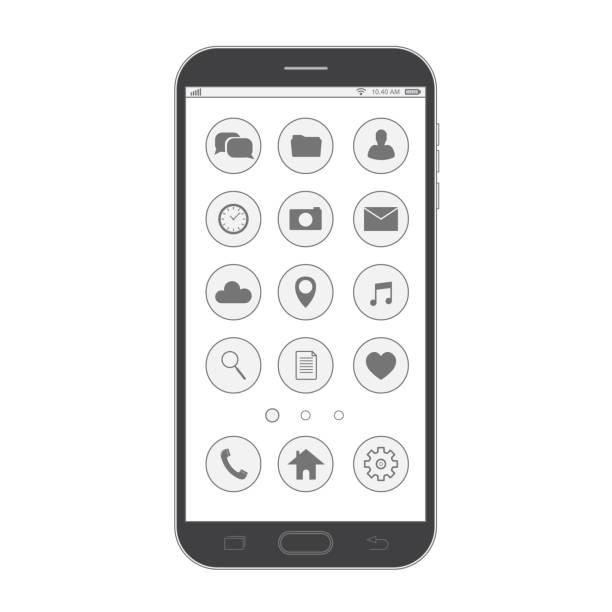 Negro smartphone. Diseño de estilo de línea fina elegante. Smartphone de vector con los iconos de la interfaz de usuario. - ilustración de arte vectorial