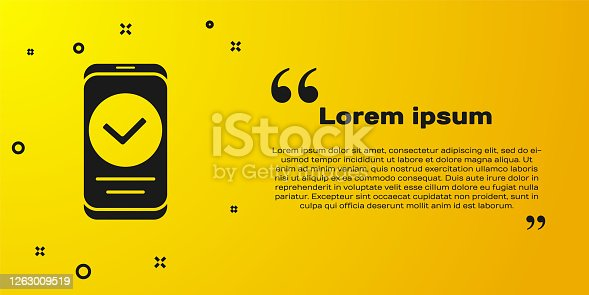 Black Smartphone, mobile phone icon isolated on yellow background. Vector.