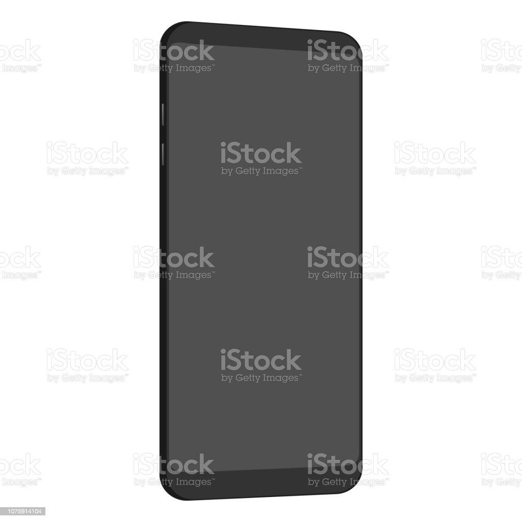 Black smartphone mockup with blank screen. vector art illustration
