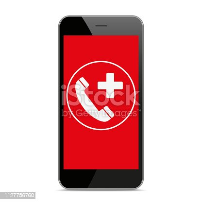 Black smartphone with red screen and symbol of emergency call. Eps 10 vector file.