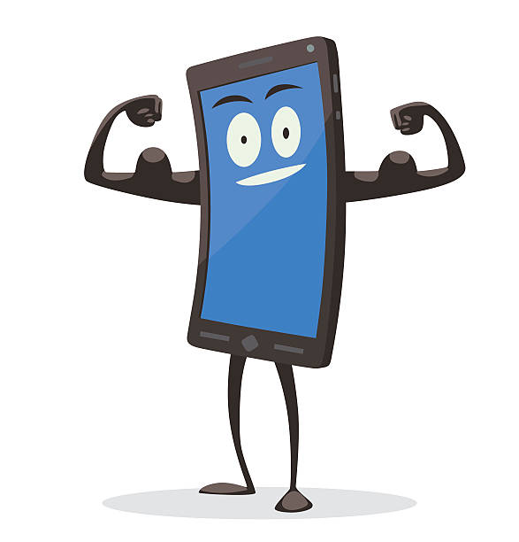 black smartphone showing his biceps - cartoon muscle arms stock illustrations, clip art, cartoons, & icons