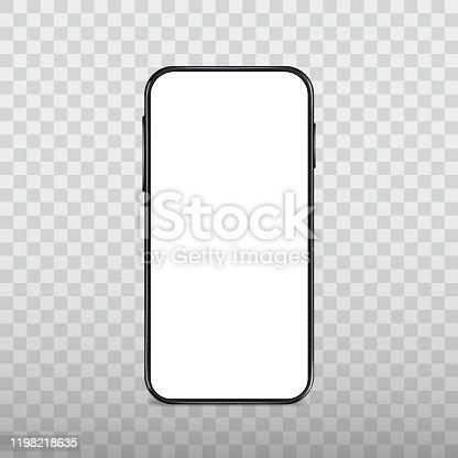 Black smartphone template, blank display, mobile gadget, cellphone frame, modern mobile device, vector icon, mockup.
