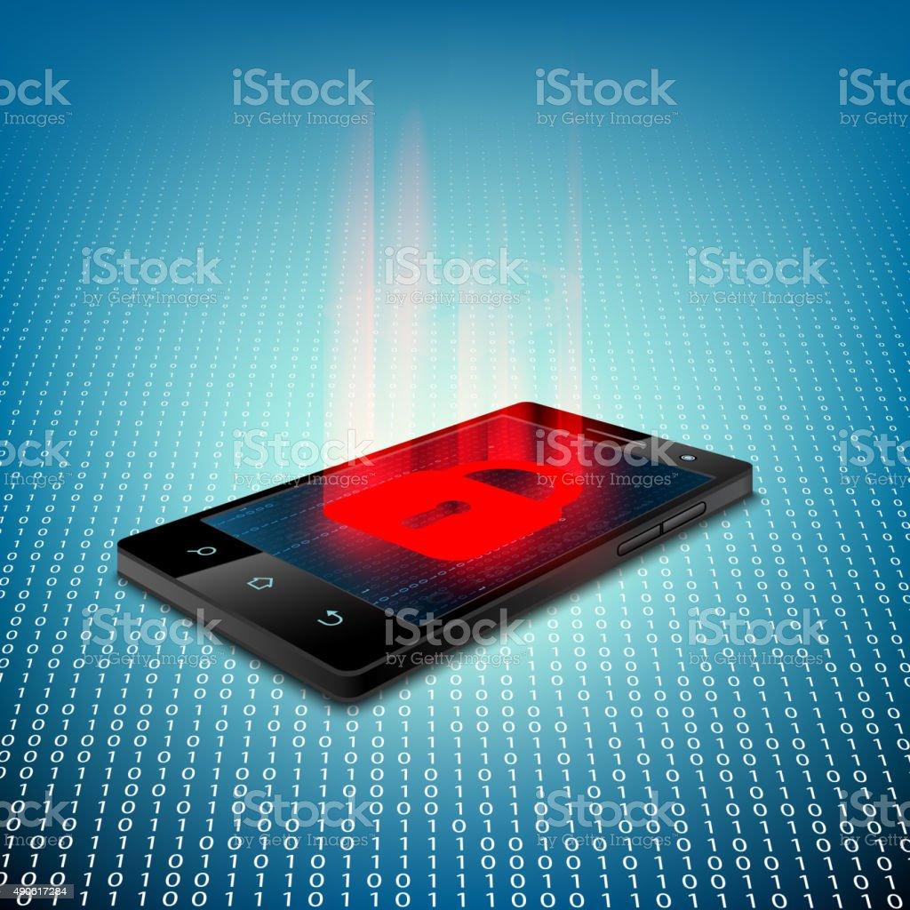 Black smartphone vector art illustration