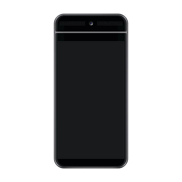 HD Black Smartphone A detailed vector illustration of a modern black smartphone / tablet with a high definition (16:9 ratio / 1920x1080px) screen. The phone vector has a realistic front facing camera, speakers and touch screen. cyborg stock illustrations