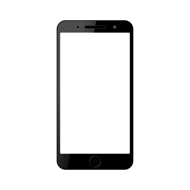 illustrazioni stock, clip art, cartoni animati e icone di tendenza di smartphone nero con touch screen vuoto, nuovo modello - vettore stock - smart phone