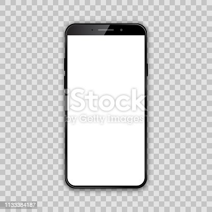 Black smartphone with white empty touch screen - vector