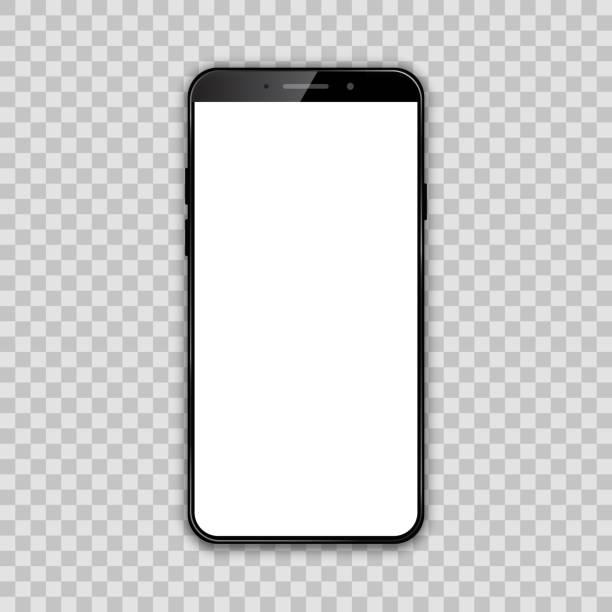 czarny smartfon z białym pustym ekranem dotykowym - wektor - komórka stock illustrations