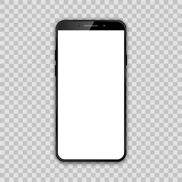 black smartphone with white empty touch screen - vector - smartphone stock illustrations