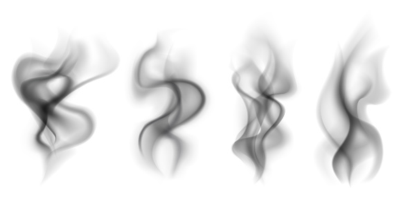 Black smoke. Transparent smoking clouds hot food steam cigarette tea coffee smoke steaming texture isolated on white vector set