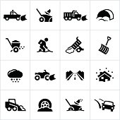 Snow removal icons. All white strokes/shapes are cut from the icons and merged allowing the background to show through. File type - EPS 10.