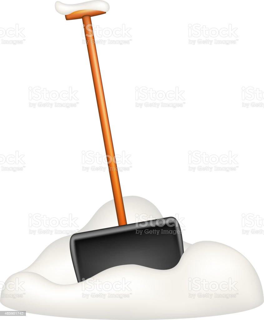 Black snow shovel standing in snow vector art illustration
