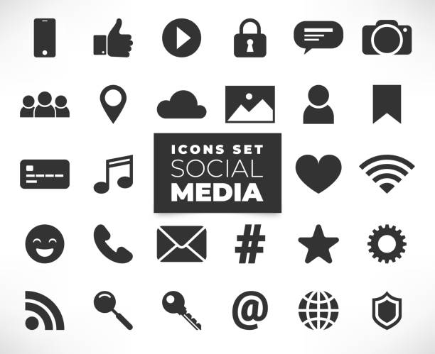Black social media icons set Social media flat icons set isolated on white backgrond. 3d concept with chat, video, mail, phone, hashtag, like, music sign. Web illustration infographics collection social media icon stock illustrations
