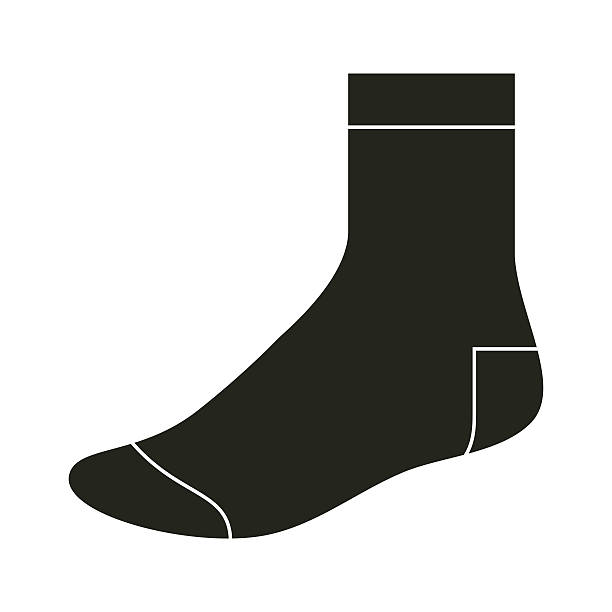 Black sock template vector art illustration