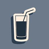 Black Soft drink icon isolated on grey background. Long shadow style. Vector Illustration