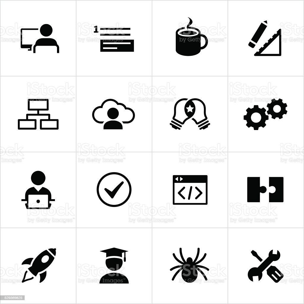 Black Software Development Icons vector art illustration