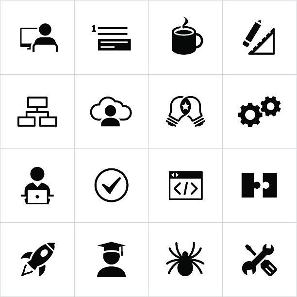 ilustrações de stock, clip art, desenhos animados e ícones de preto de ícones de desenvolvimento de software - inteiro