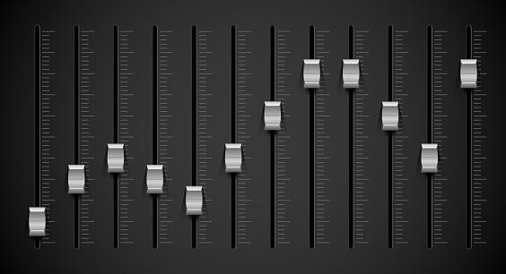 Black sound mixer panel. Silver sliders. 3D vector illustration