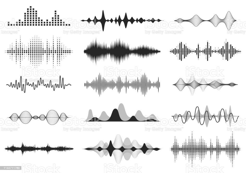 Ondes sonores noires. Fréquence audio de la musique, forme d'onde de la ligne vocale, signal radio électronique, symbole du niveau de volume. Ondes radio vectorielles définies - clipart vectoriel de Abstrait libre de droits