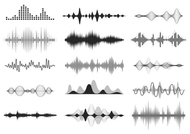 czarne fale dźwiękowe. częstotliwość dźwięku muzycznego, przebieg linii głosowej, elektroniczny sygnał radiowy, symbol poziomu głośności. zestaw fal radiowych wektorowych - muzyka stock illustrations