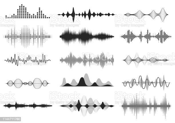 Ondes Sonores Noires Fréquence Audio De La Musique Forme Donde De La Ligne Vocale Signal Radio Électronique Symbole Du Niveau De Volume Ondes Radio Vectorielles Définies Vecteurs libres de droits et plus d'images vectorielles de Abstrait