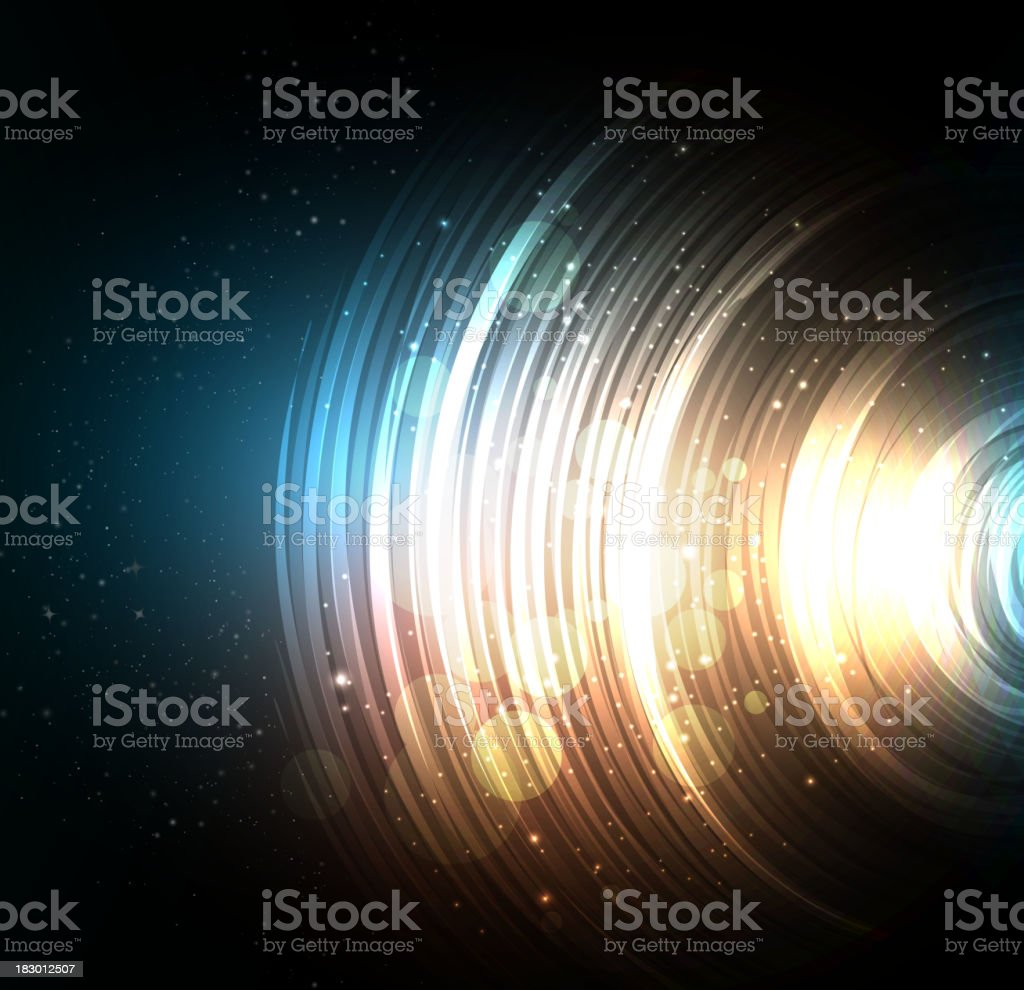 Black space-like abstract background with circles vector art illustration