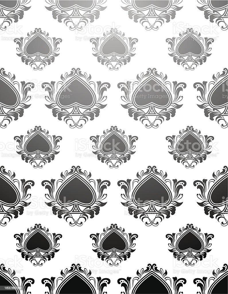 Black Spades Pattern vector art illustration