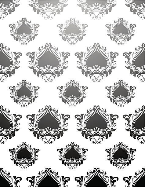Black Spades Pattern vector art illustration