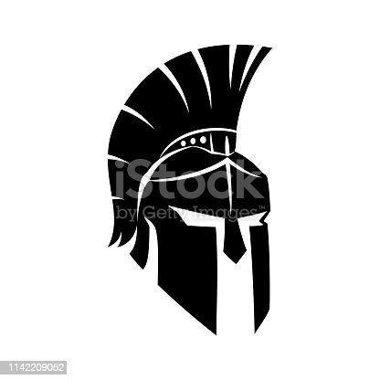 Black Spartan helmet on a white background.