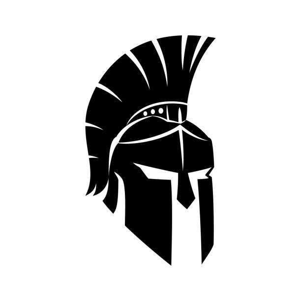 schwarzer spartan-helm. - sportschutzhelm stock-grafiken, -clipart, -cartoons und -symbole