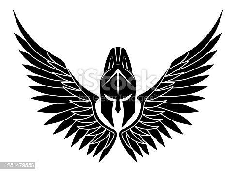 istock Black Spartan helmet with wings. 1251479556