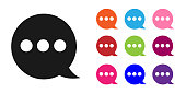 Black Speech bubble chat icon isolated on white background. Message icon. Communication or comment chat symbol. Set icons colorful. Vector Illustration