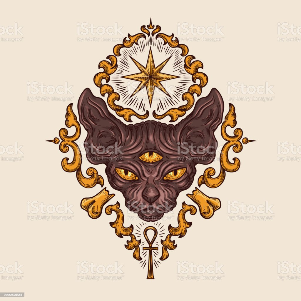 Black sphinx cat head with mysterious look vector vector art illustration