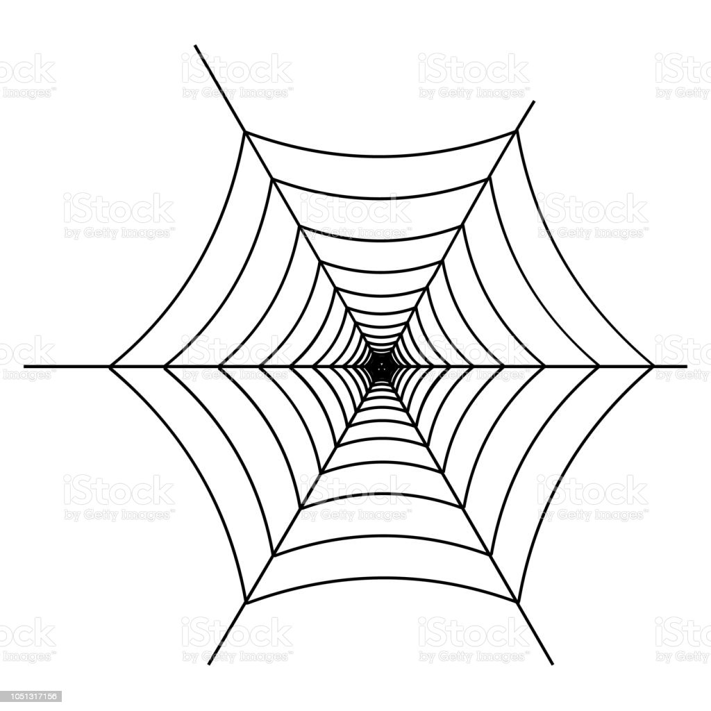 Svart spindelnät på vit bakgrund. Designelement, ikon. Vektor. EPS-10. vektorkonstillustration