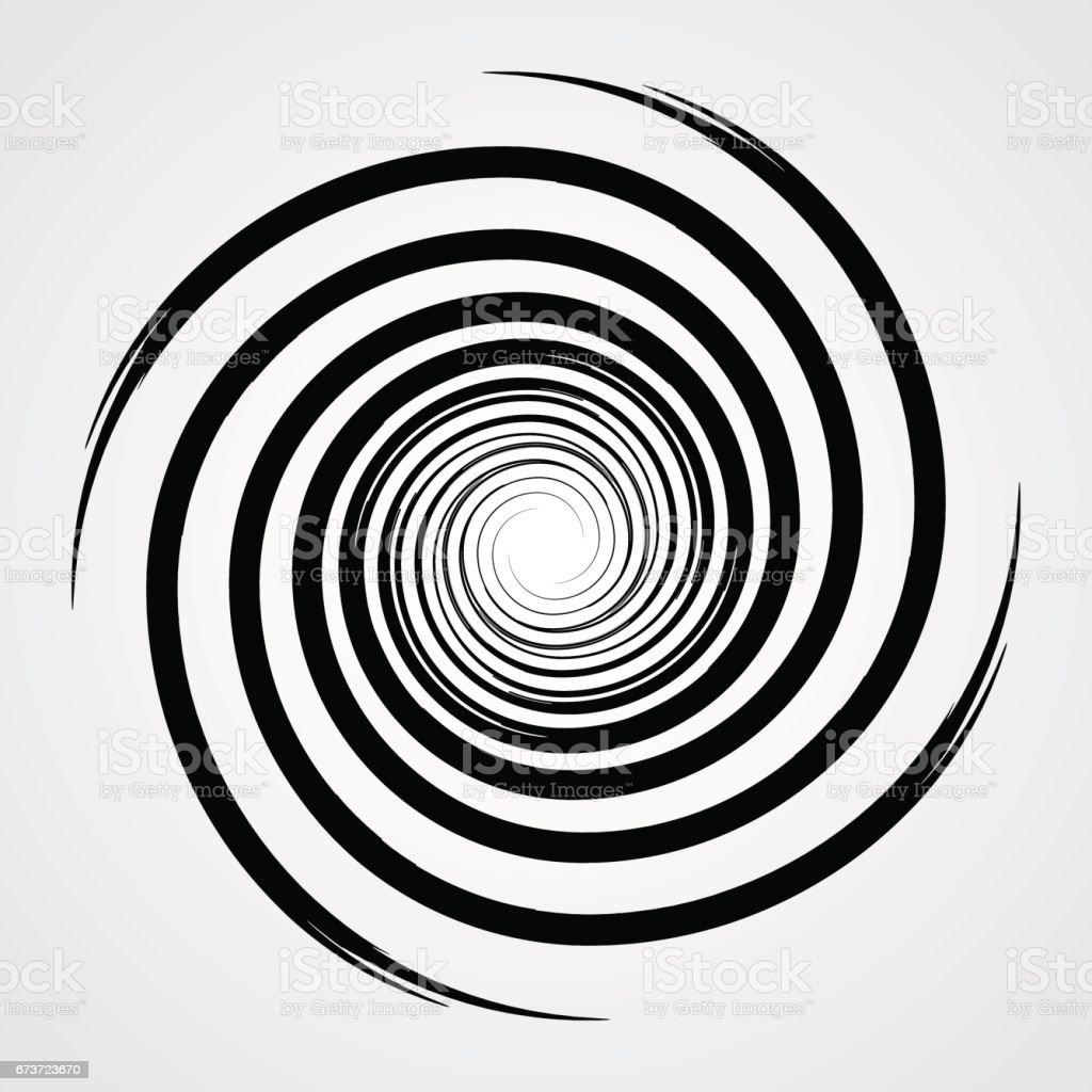 black spiral swirl circle with brush vector illustration stock