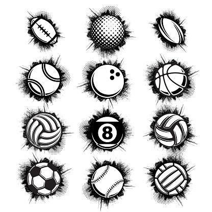 Black sport balls grunge set