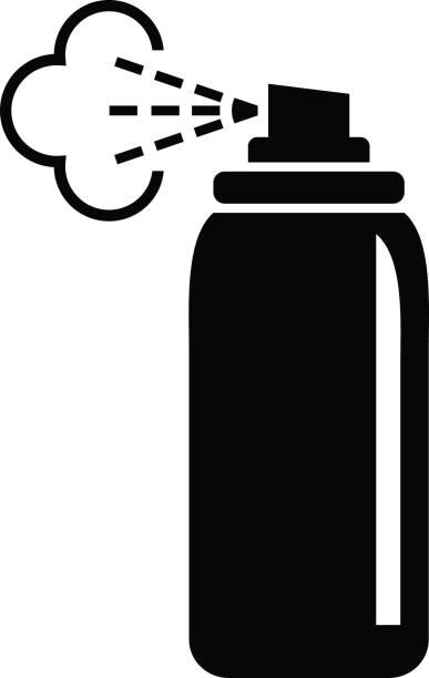 schwarzen spray-symbol - haarsprays stock-grafiken, -clipart, -cartoons und -symbole