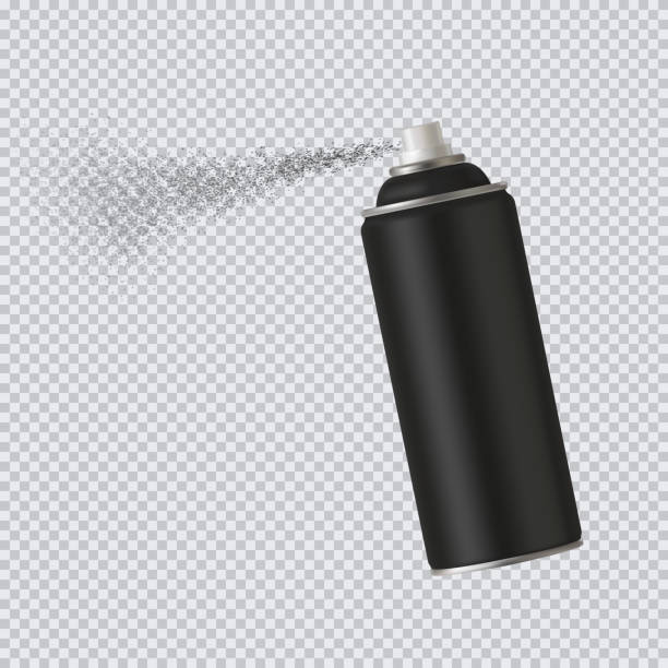 Black spray cans spray paint on transparent background. Vector illustration Black spray cans spray paint on transparent background. Vector illustration EPS10 aerosol can stock illustrations