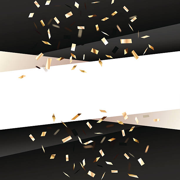 Black square  background with golden flying graphic elements. vector art illustration