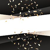 Black square  background with golden flying graphic elements.