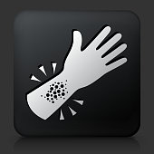 Black Square Button with Allergy Reaction Icon