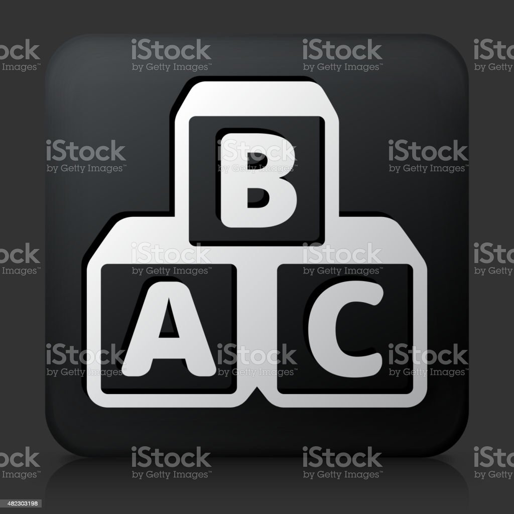 Black square button with Alphabet Blocks vector art illustration